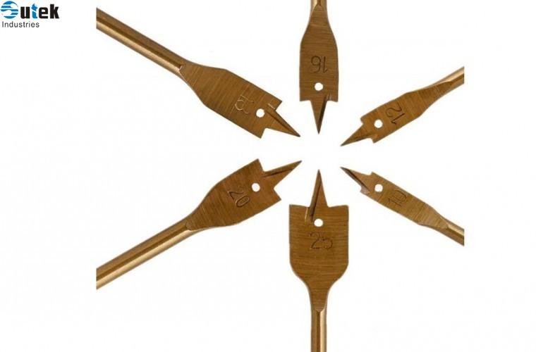 6pcs Spade Paddle Flat Wood Boring Titanium Coated