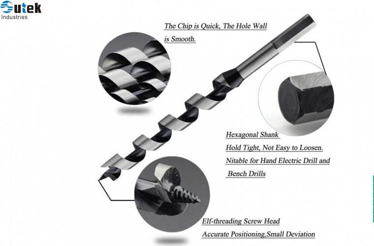 Wood Auger Drill Bit Set 5pcs Hex Shank 6-14mm