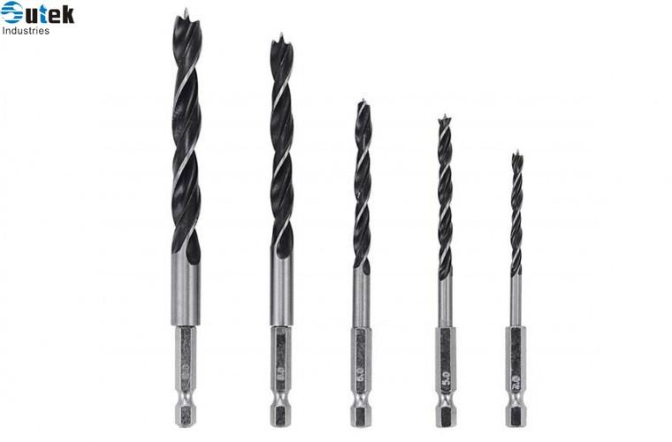Brad Point Wood Drill Bit Set 5pcs Hex Shank